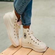 Converse blanche ivoire.. avec l'intérieur liberty! #converse #conversechucktaylor #converseplatform #sneakers #sneakersaddict